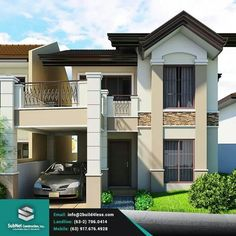 Jeddah: A Simple Residencia - Philippines Realty Projects 2 Storey House Design, Two Storey House, House Outer Design, Modern House Design, Style At Home, Philippines House Design, Philippine Houses, Latest House Designs, Design Living Room