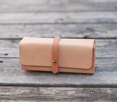 Nude color vegetable cow hide leather Pencil Case/Pen Pouch/ Sunglasses Case ETSY Bysen