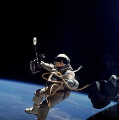 Astronaut Ed White performs first US spacewalk on 3 June 1965 during the Gemini 4 mission.