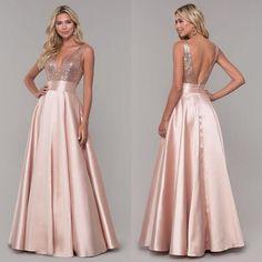 V Neck Prom Dresses, Pink Prom Dresses, Long Bridesmaid Dresses, Satin Dresses, Homecoming Dresses, Pink Dress, Gowns, Beautiful Dresses, Nice Dresses