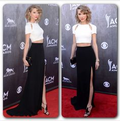 Taylor Swift looks AMAZING in this J. Mendel Custom Silk Crepe Ivory Crop Top and Noir Skirt at 2014 ACM Awards. She wins the red carpet looking sexy and chic while also sophisticated and youthful at the same time! #JMendel #TaylorSwift #ACMAwards #acm2014 #musician #celebrity #redcarpet #stunning #sophisticated #youthful #sexy #chic #elegant #classy #winninglook #timeless #croptop #itgirl #classic #effortless #fashionaddict #fashionista #picoftheday #instadaily #blogger #stylist