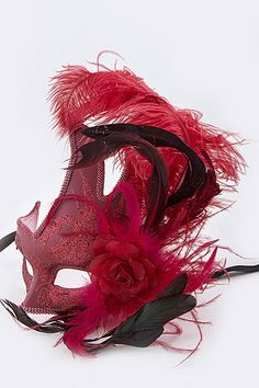 """Red Masquerade mask with black ribbon ties. Approx: 6"""" wide, 8.5"""" tall mask, 12"""" tall mask +feather"""