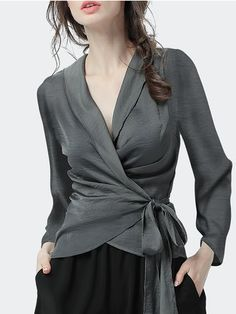 Stylewe Long Sleeve Gray Black Women Tops For Work Polyester Surplice Neck Sexy . Stylewe Long Sleeve Gray Black Women Tops For Work Polyester Surplice Neck Sexy Daytime Bow Tops. Blouse Styles, Blouse Designs, Look Fashion, Fashion Outfits, Fashion Blouses, Ladies Fashion, Grey Blouse, V Neck Blouse, Rocker