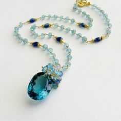 Apatite Kyanite Necklace with Luxe Prasiolite Pendant -  Mabelle Necklace