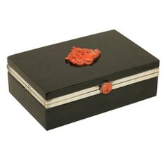 English Art Deco Carved Nephrite and Silver Box by H. G. & S. H. 2 in., W. 5.3 in. $6,500