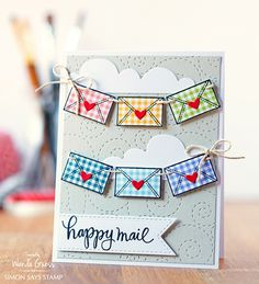 Simon Says Stamp products. Card by Wanda Guess for the SSS Blog. Happy Mail!