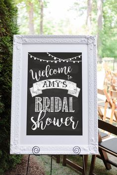 The perfect bridal shower welcome sign / wedding shower welcome sign for your soon-to-be-married couple! :) Shop more signs at Aycock Designs on Etsy: http://etsy.com/shop/aycockdesigns