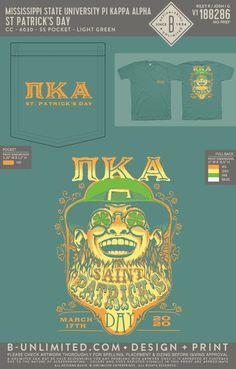 Pi Kappa Alpha St. Patrick's Day Shirt   Fraternity Event   Greek Event #pikappaalpha #pike #pka Pi Kappa Alpha, Bid Day Themes, 17 Day, Pocket Light, Mississippi State, Fraternity, St Patricks Day, All Design, Greek