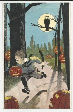 Vintage Halloween Post Card Owl JOL's Full Moon Boy Running Thru Forest…
