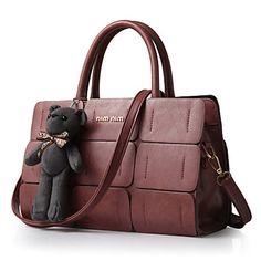 Women's+Fashion+Vintage+Plaid+PU+Leather+Messenger+Shoulder+Bag/Tote+–+USD+$+19.90