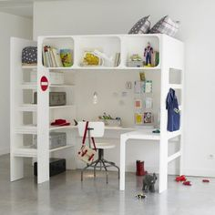 bed, desk, shelves all in one!