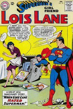 Superman Man of Steel Lois Lane Romance DC Comic Covers Old Comic Books, Vintage Comic Books, Vintage Comics, Comic Book Covers, Superman Comic, Superman Stuff, Funny Superman, Superman Family, Batman