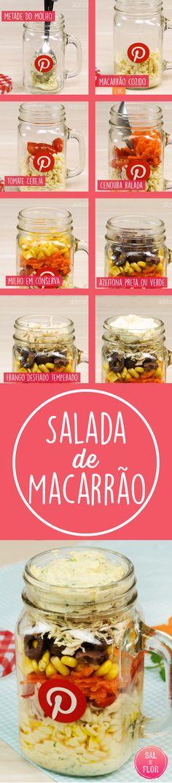 Saiba como fazer uma salada de macarrão super fácil de fazer no pote No Salt Recipes, Sweet Recipes, Easy Cooking, Cooking Recipes, Salad In A Jar, Arabic Food, Diy Food, I Love Food, No Cook Meals