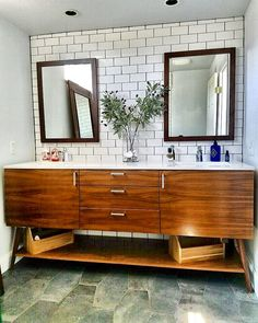 Custom Walnut Double Sink Vanity By West Coast Modern L.A