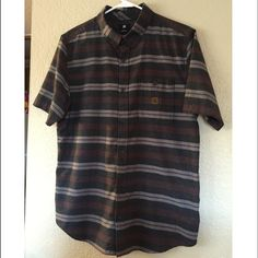 DC brand button down (M) Men's gently used button down. Dark grey w/ maroon and grey stripes. DC Tops