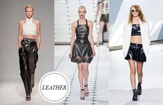 LEATHER  Last year's huge leather trend isn't going anywhere, as we'll be seeing leather applied to sophisticated, inventive silhouettes in 2013. It's a stylish way to introduce just the right amount of edge into a look, so pick up a piece—faux or otherwise—stat. Not sure what to invest in? Our vote goes toward super-slouchy leather pants, which is poised to be a big hit in '13.     (L-R): Balmain, Jason Wu, 3.1 Phillip Lim