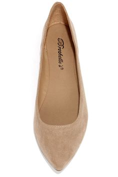 Low and Behold Natural Suede Pointed Flats at Lulus.com! $17