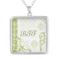 elegant spring green floral pattern bff pendant necklace