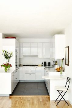 Modern kitchen design ideas from House & Garden including this white modern small u shaped kitchen with grey floor. Small U Shaped Kitchens, Small Modern Kitchens, Modern Kitchen Design, Interior Design Kitchen, Home Kitchens, Square Kitchen, New Kitchen, Kitchen Ideas, Kitchen White