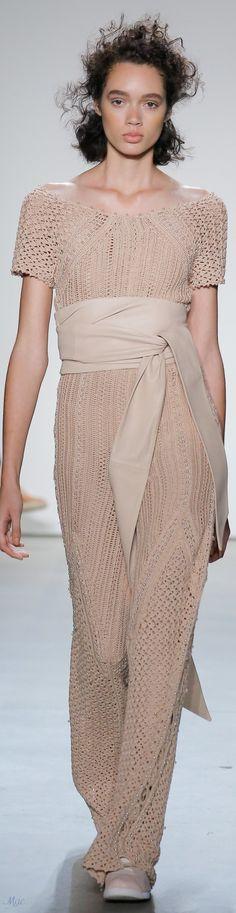 Spring 2018 RTW Jonathan Simkhai Knitwear Fashion, Knit Fashion, Fashion Looks, Crochet Blouse, Knit Dress, Dress Skirt, Crochet Dresses, Women's Dresses, Taupe Dress