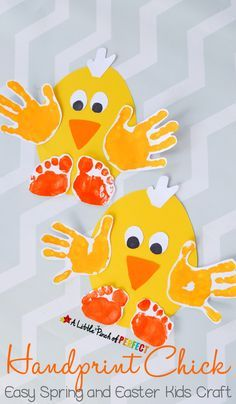 Handprint Chick: Easy Spring and Easter Craft for Kids-perfect to make for spring, Easter, or while enjoying farm themed activities. This activity was sponsored by Huggies® Easter Crafts For Kids, Toddler Crafts, Mouse Crafts, Painting Activities, Cloud Art, Pom Pom Crafts, Rain Clouds, Painting For Kids, Footprint