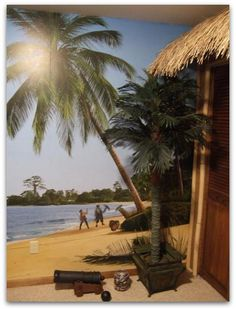 Pirate theme bedroom, pirate wall murals, palm tree