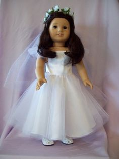 Handmade! $40 includes dress, veil, tights, shoes, cross necklace. http://www.american-doll-clothes.com/american-girl-first-communion-outfit.htm