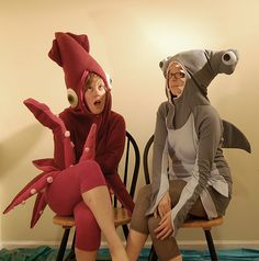 squid and hammerhead shark costumes