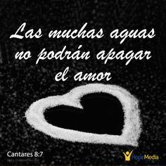 """Cantares 8:6d-7 dice: """"¡El fuego del amor es una llama que Dios mismo ha encendido!¡No hay mares que puedan apagarlo, ni ríos que puedan extinguirlo!""""  Existen muchos tipos de amor y algunos son egoístas y provocan sufrimiento. Si quieres amor genuino, el tipo de amor que los problemas no pueden apagar... pasa tiempo de calidad cada día con Dios y Él te enseñará a amar y a reconocer el amor verdadero. (EAF) Hopemedia.es"""