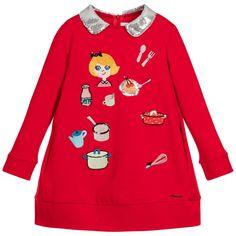 Simonetta Mini - Girls Embroidered Red Sweatshirt Dress |