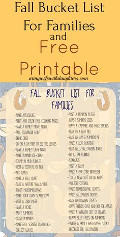 Fall family bucket list. Fall activities. Family. Parenting. Kids activities. Free Printable
