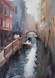Venice Canal by Keiko Tanabe Watercolor ~ 11 x 8 inches x 21 cm) Watercolor Landscape, Landscape Art, Watercolour Painting, Watercolours, Venice Painting, City Painting, Italian Paintings, Venice Canals, Painting Competition