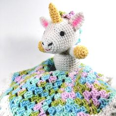 Free Crochet Pattern:  Bernat® Softee® Baby Unicorn Lovey