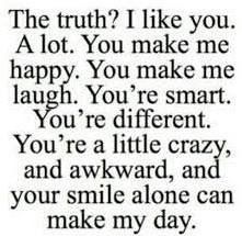 The words have finally conveyed the way I feel for you I love you, macarra. In every aspect of the phrase You Make Me Laugh, You Make Me Happy, You Make Me Smile Quotes, Happy With Him Quotes, Nice Quotes For Friends, Cute Things To Say To Your Boyfriend, His Smile Quotes, Thinking Of You Quotes For Him, Guy Friend Quotes