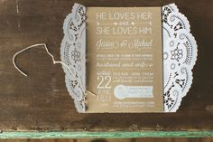 Doily-wrapped wedding invitation- LOVE! // photo by http://www.cptphotography.com, via http://theeverylastdetail.com/yellow-peach-minnesota-farm-wedding