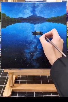 Simple Canvas Paintings, Diy Canvas Art, Art Painting Gallery, Canvas Painting Tutorials, Sky Art, Landscape Paintings, Art Drawings, Acrylic Sky Painting, Sunset Art