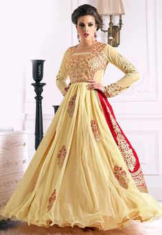 Beige and Red Velvet and Net Abaya Style Churidar Kameez: KCR7423