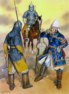 The western steppes (10th - 13th): Volga Bulgar cavalryman, Kipchaq warrior, Pecheneg lady
