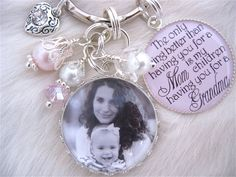 MOTHER GIFT Photo pendant keychain necklace personalized Bottle cap Jewelry Mother Grandma Nana Godmother, glass dome Wedding Shabby Chic. $29.50, via Etsy.