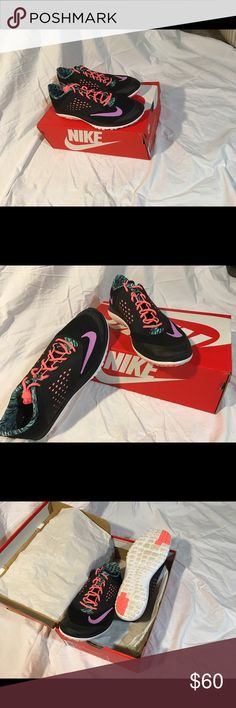 Nike Women's Fitsole Lite Run 2 Black running shoes with coral and teal accents Nike Shoes Sneakers