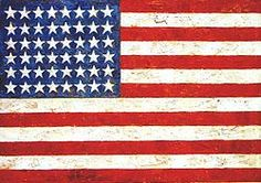 Jasper Johns' Flag 1954-55 is an iconic painting of the Pop Art movement. John's is an American artist grouped as Abstract Expressionist, Neo-Dadaist and Pop Artist. He painted a lot of flags, some of which more abstractly, all with incredibly thick paint and encaustic.