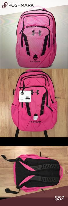 """Pink Under Armour Backpack NEW with tags!!! Original price $64.99 Never Used. Perfect for hiking/travel bag/ School.   Amenities: Soft lined padded laptop sleeve- holds 15"""" laptop 2 water bottle pockets Front quick stash pockets Ergonomic molded shoulder straps Tricot lined media pocket to protect your gear Under Armour Bags Backpacks"""