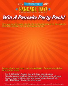 Win a pancake party pack that includes $250 Walmart gift card!
