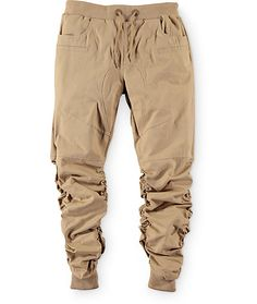 Grab a unique new style with elastic scrunched legs on a lightweight cotton khaki colorway and a gusseted drop crotch for mobility and comfort.