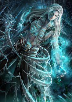 Fantasy Art - F R ❆ S T - S E A necromancer Dhampir; Fantasy Art Warrior, Fantasy Art Men, Fantasy Artwork, Fantasy World, Angel Warrior, Vampire Art, Fantasy Character Design, Portrait Paintings, Face Paintings