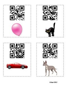 Use these QR codes as a teaching tool or self-checking, motivating learning center.  Each card has a color picture.  When the QR code is scanned on an iPod, iPad, or smart phone QR code reader (many are free), the color word will appear.  I use them as practice for spelling color words.