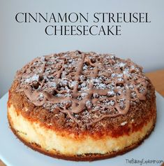Cinnamon Streusel Cheesecake (The Baking Explorer) Cheesecake Desserts, Pumpkin Cheesecake, Just Desserts, Delicious Desserts, Dessert Recipes, Yummy Food, Breakfast Cheesecake, Cinnamon Cheesecake, Yummy Treats