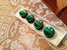 Ninja turtle cupcakes...for andrew's birthday