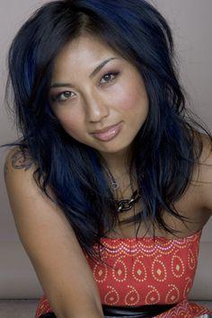 Jeanie Mai's Hair Blue Black Hair Color With Chunky Bright Blue Peekaboo Highlights Jeannie Mai, Meagan Good, Hot Hair Colors, Blue Highlights, Super Hair, Hair Today, Me Time, Blue Hair, Dark Hair