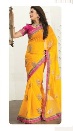 Yellow Colour Chiffon Material Fancy Sarees.